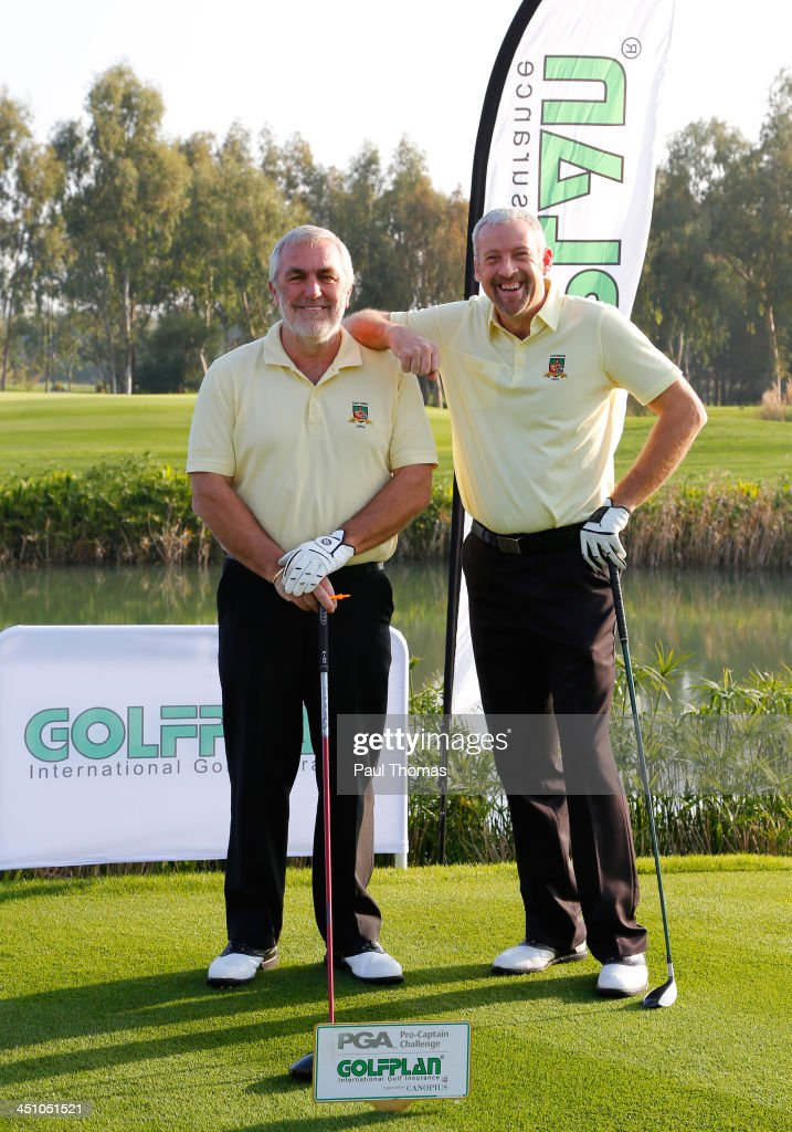 Rob Edwards (R) and Michael Izzard of Lee-on-the-Solent Golf Club pose for a photograph on the PGA Sultan Course during day one of The Golfplan Insurance Pro Captain Challenge final at Antalya Golf Club on November 21, 2013 in Antalya, Turkey.