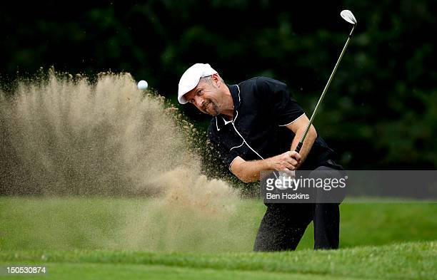 Rob Edwards of the LeeontheSolent Golf Club hits out of the sand on the 11th hole during the Regional Final of the Virgin Atlantic PGA National ProAm...