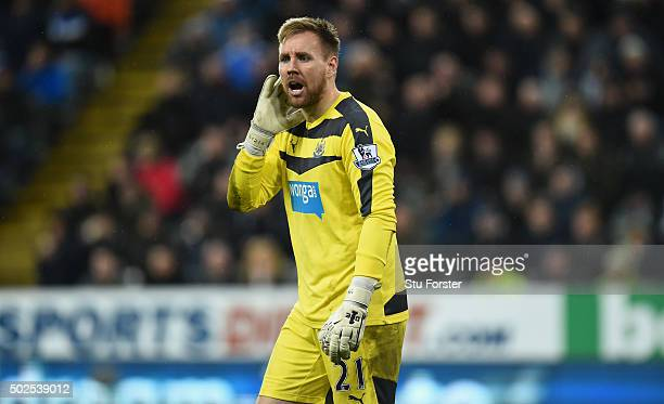 Rob Elliott of Newcastle reacts during the Barclays Premier League match between Newcastle United and Everton at St James' Park on December 26 2015...