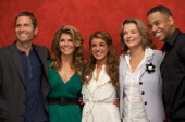 Rob Estes Lori Loughlin Shenae Grimes Jessica Walter and Tristan Wilds attend the '90210' press conference at the Four Seasons Hotel on October 1...