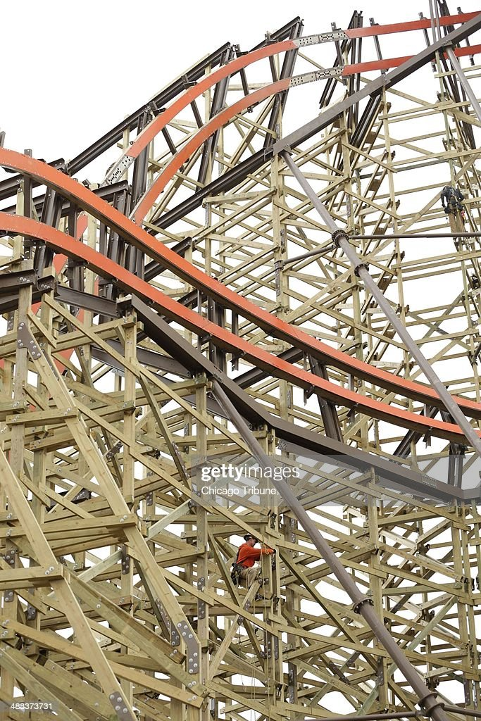 Rob Finney works high up on the new Goliath coaster under construction at Six Flags Great American in Gurneee Ill on April 30 2014