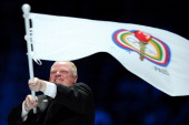 Rob Ford mayor of Toronto waves the pan american flag during the Closing Ceremony of the XVI Pan American Games at the Omnilife Stadium on October 30...