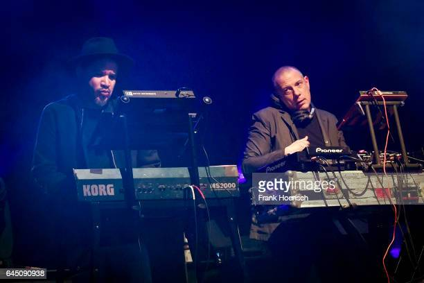 Rob Garza and Eric Hilton of the American band Thievery Corporation perform live during a concert at the Astra on February 24 2017 in Berlin Germany