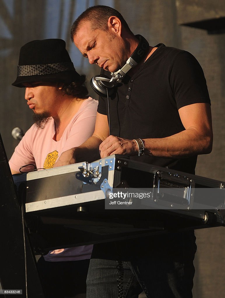 Rob Garza, (L) and Eric Hilton of Thievery Corporation perform during the 2008 Voodoo Experience at City Park on October 25, 2008 in New Orleans, Louisiana.