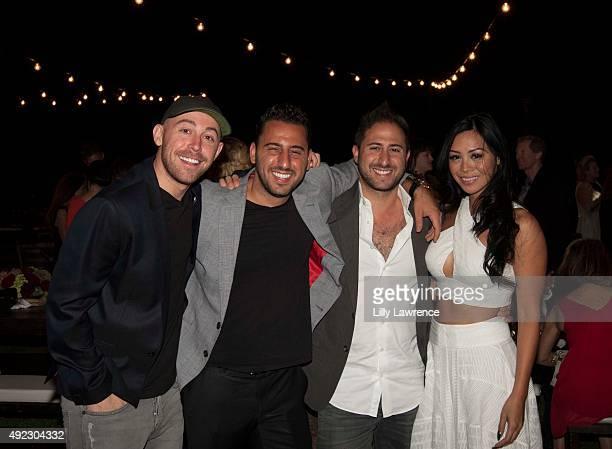 Rob Gough Josh Altman Matt Altman and Johanna Sicat attend Victorino Noval birthday celebration at The Vineyard Beverly Hills on October 10 2015 in...