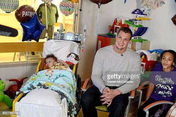 Rob Gronkowski films video with Torren and Jaianna at Boston Children's Hospital promoting Gronk Nation Superbowl sweepstakes on January 26 2017 in...