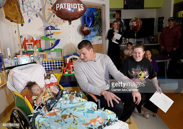 Rob Gronkowski films video with Torren and Lucy at Boston Children's Hospital promoting Gronk Nation Superbowl sweepstakes on January 26 2017 in...
