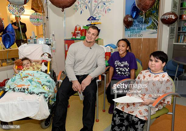 Rob Gronkowski films video with Torren Jaianna and Nico at Boston Children's Hospital promoting Gronk Nation Superbowl sweepstakes on January 26 2017...