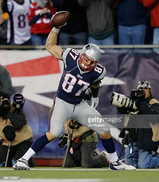 Rob Gronkowski of the New England Patriots celebrates his touchdown in the 2nd half during a game with the Pittsburgh Steelers at Gillette Stadium on...