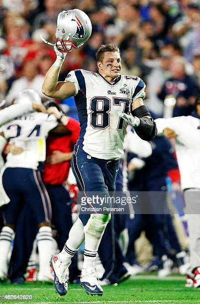 Rob Gronkowski of the New England Patriots celebrates their 2824 win over the Seattle Seahawks during Super Bowl XLIX at University of Phoenix...