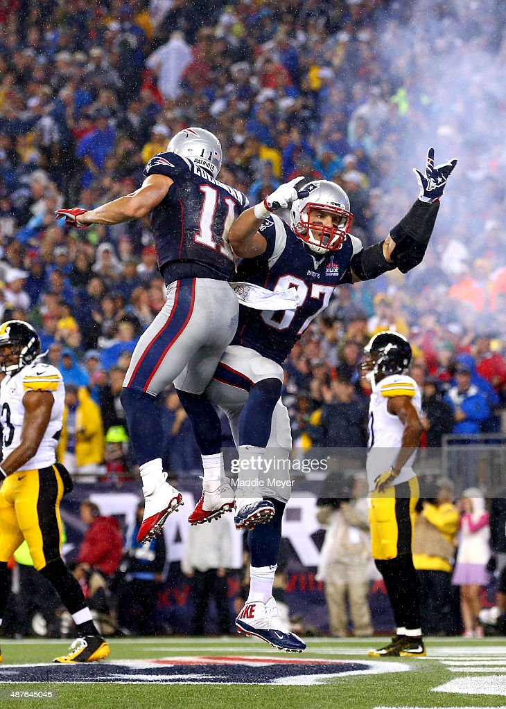Rob Gronkowski #87 of the New England Patriots celebrates with Julian Edelman #11 after Gronkowski's second touchdown of the game in the second quarter against the Pittsburgh Steelers at Gillette Stadium on September 10, 2015 in Foxboro, Massachusetts.