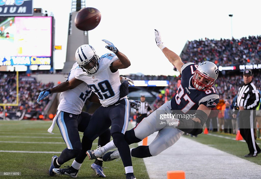 Rob Gronkowski #87 of the New England Patriots is unable to catch a pass in the end zone as Daimion Stafford #39 of the Tennessee Titans defends him during the second half at Gillette Stadium on December 20, 2015 in Foxboro, Massachusetts.
