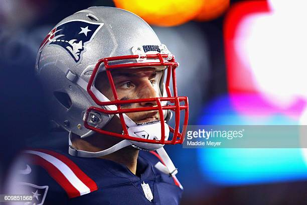 Rob Gronkowski of the New England Patriots looks on during the second half against the Houston Texans at Gillette Stadium on September 22 2016 in...