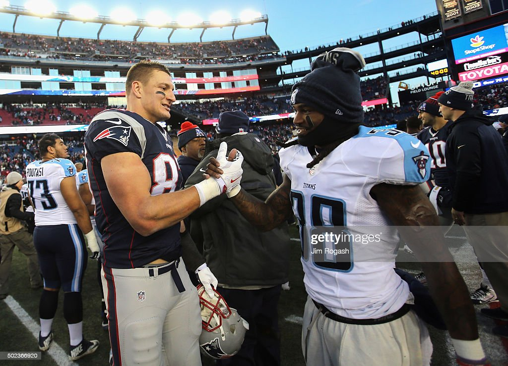 <a gi-track='captionPersonalityLinkClicked' href=/galleries/search?phrase=Rob+Gronkowski&family=editorial&specificpeople=5534525 ng-click='$event.stopPropagation()'>Rob Gronkowski</a> #87 of the New England Patriots shakes hands with <a gi-track='captionPersonalityLinkClicked' href=/galleries/search?phrase=B.W.+Webb&family=editorial&specificpeople=7308996 ng-click='$event.stopPropagation()'>B.W. Webb</a> #38 of the Tennessee Titans following their game at Gillette Stadium on December 20, 2015 in Foxboro, Massachusetts.