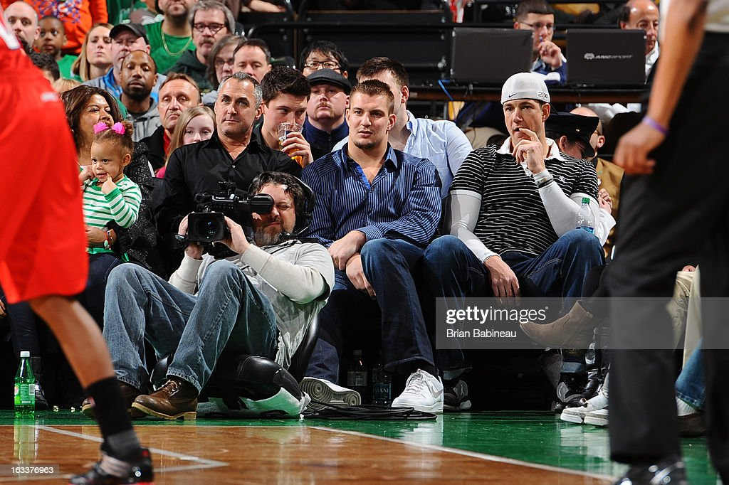 Rob Gronkowski of the New England Patriots watches the game of the Boston Celtics against the Atlanta Hawks on March 8, 2013 at the TD Garden in Boston, Massachusetts.
