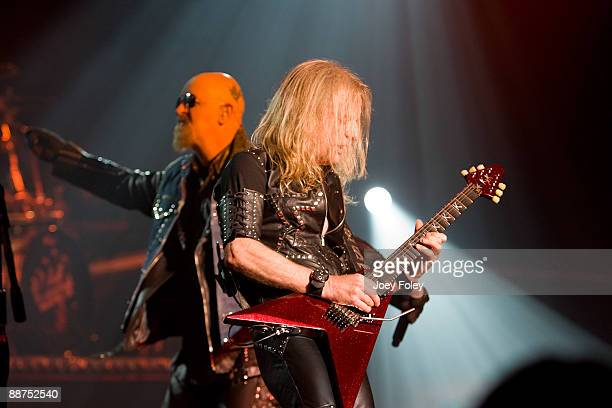 Rob Halford and K K Downing of Judas Priest perform in the opening date of their Summer Tour at the Egyptian Room Murat Centre on June 29 2009 in...
