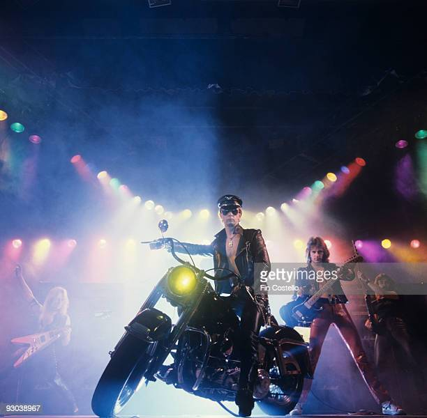 Rob Halford Glenn Tipton and Ian Hill of Judas Priest perform on stage Unleashed In The East album cover session taken in July 1979