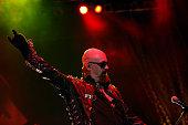 Rob Halford of Judas Priest perform at Belgrade Arena on July 1 2011 in Belgrade Serbia