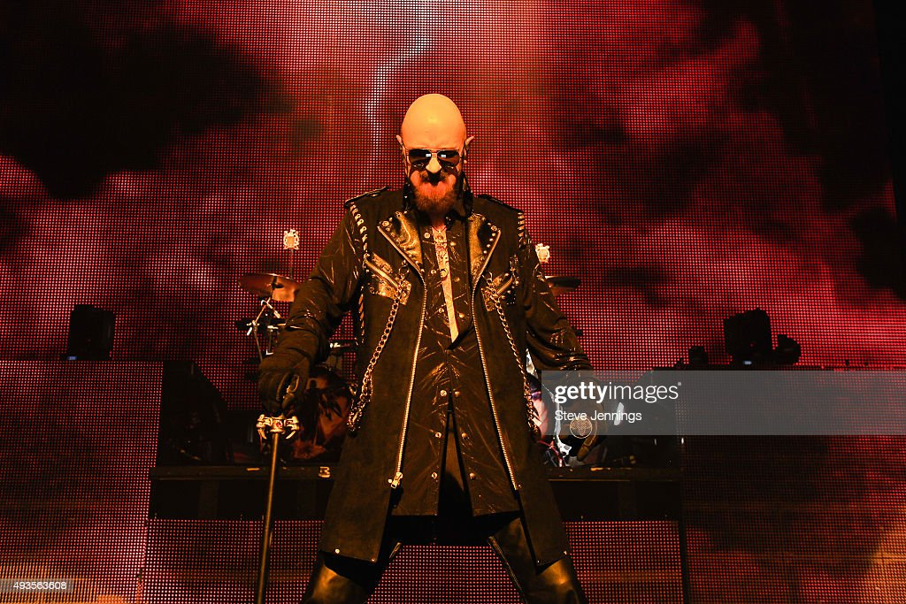 Rob Halford of Judas Priest performs at The Warfield Theater on October 20, 2015 in San Francisco, California.