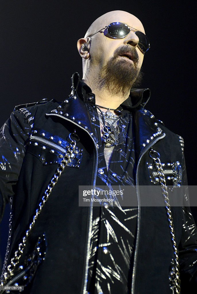 Rob Halford of Judas Priest performs in support of the band's 'Redeemer of Souls' release on November 16, 2014 in San Jose, California.