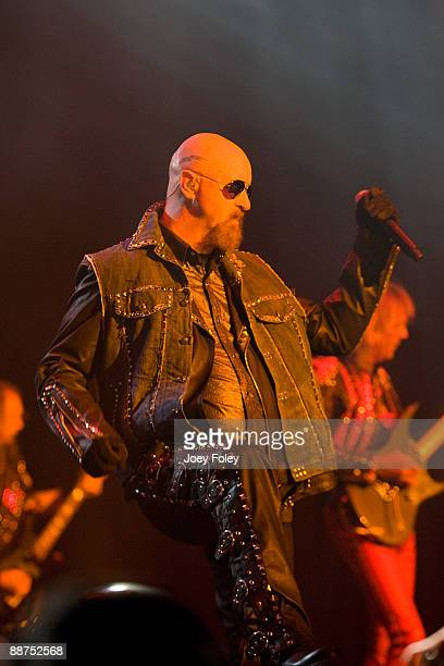 Rob Halford of Judas Priest performs in the opening date of their Summer Tour at the Egyptian Room Murat Centre on June 29 2009 in Indianapolis...