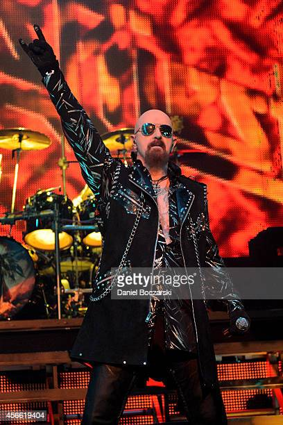 Rob Halford of Judas Priest performs on stage at The Venue at Horseshoe Hammond on October 3 2014 in Hammond United States