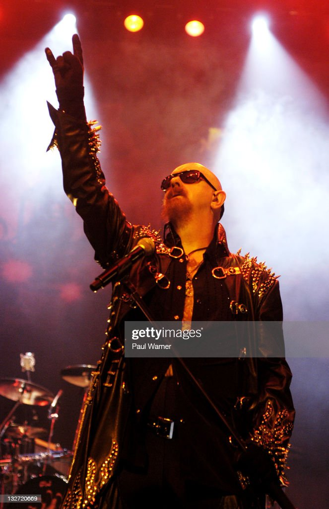 Rob Halford performs with Judas Priest at the Joe Louis Arena on November 13, 2011 in Detroit, Michigan.