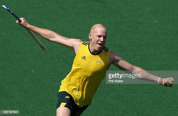 Rob Hammond of Australia celebrates scoring his goal during the mens hockey match between Australia and New Zealand at Major Dhyan Chand National...