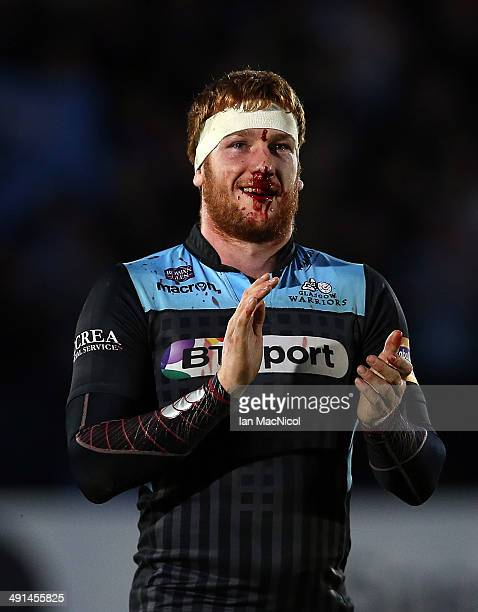 Rob Harley of Glasgow Warriors celebrates victory at the final whistle during The Glasgow Warriors and Munster RaboDirect Pro 12 Semi Final at...