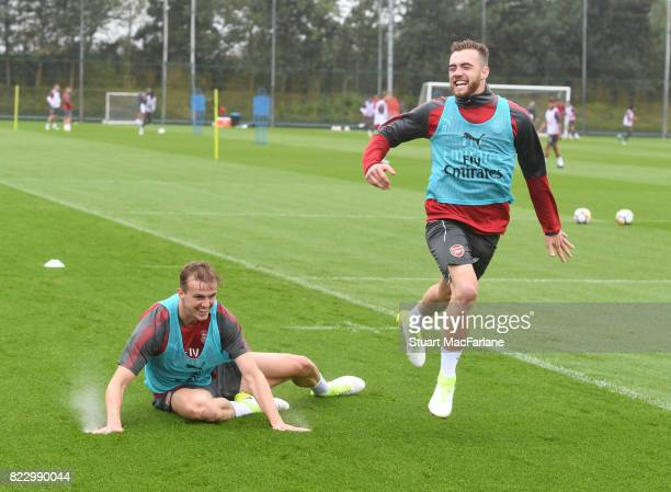 Rob Holding and Calum Chambers of Arsenal during a training session at London Colney on July 26 2017 in St Albans England
