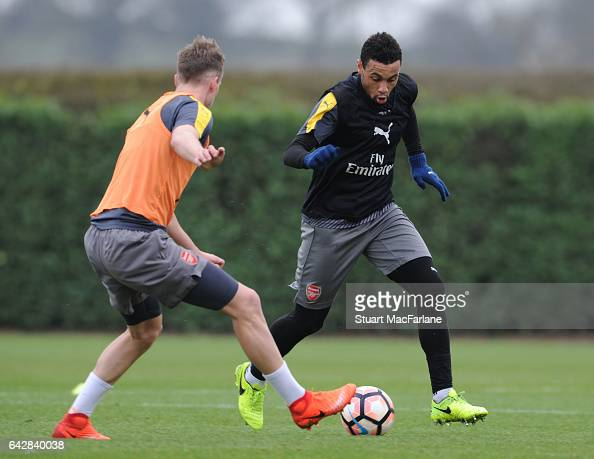 Rob Holding and Francis Coquelin of Arsenal during a training session on February 19 2017 in St Albans England