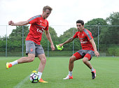 Rob Holding and Hector Bellerin of Arsenal during a 1st team training session at London Colney on July 23 2016 in St Albans England