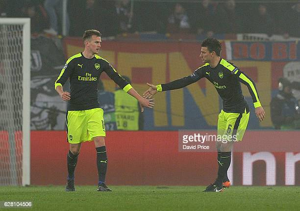 Rob Holding and Laurent Koscielny of Arsenal during the UEFA Champions League match between FC Basel and Arsenal at St JakobPark on December 6 2016...