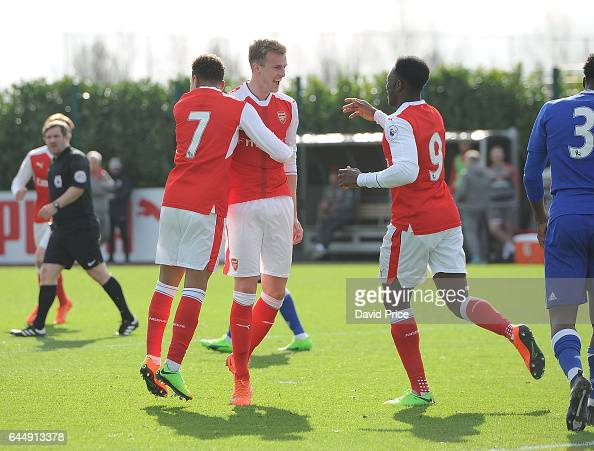 Rob Holding celebrates scoring a goal for Arsenal during the match between Arsenal U23 and Chelsea U23 at London Colney on February 24 2017 in St...
