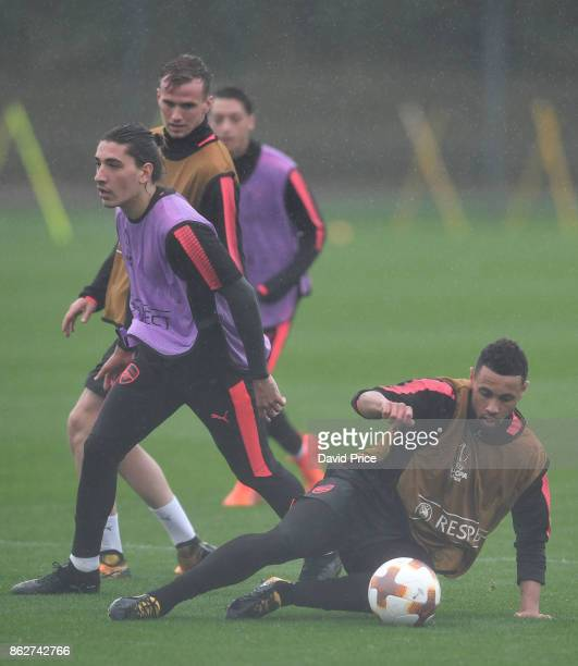Rob Holding Hector Bellerin and Francis Coquelin of Arsenal during the Arsenal Training Session at London Colney on October 18 2017 in St Albans...