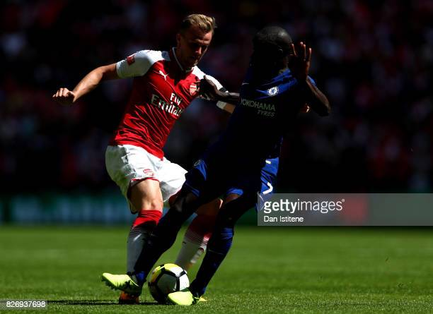 Rob Holding of Arsenal and N'Golo Kante of Chelsea battle for possession during the The FA Community Shield final between Chelsea and Arsenal at...