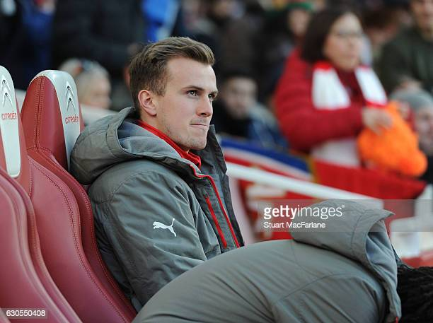 Rob Holding of Arsenal before the Premier League match between Arsenal and West Bromwich Albion at Emirates Stadium on December 26 2016 in London...