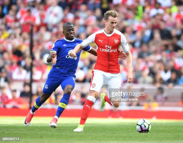 Rob Holding of Arsenal challenged by Enner Valencia of Everton during the Premier League match between Arsenal and Everton at Emirates Stadium on May...