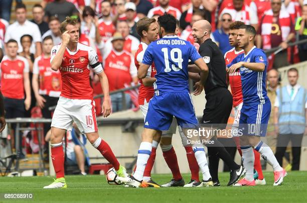 Rob Holding of Arsenal chats to Diego Costa of Chelsea during the match between Arsenal and Chelsea at Wembley Stadium on May 27 2017 in London...