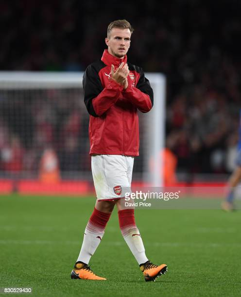 Rob Holding of Arsenal claps the fans after the Premier League match between Arsenal and Leicester City at Emirates Stadium on August 11 2017 in...