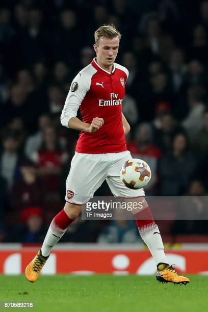 Rob Holding of Arsenal controls the ball during UEFA Europa League Group H match between Arsenal and Red Star Belgrade at The Emirates London 2 Nov...