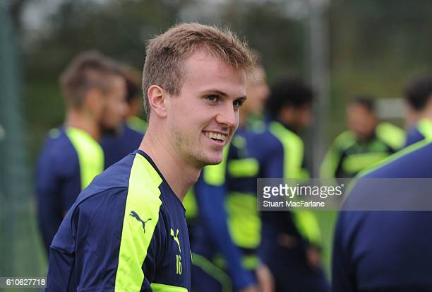 Rob Holding of Arsenal during a training session at London Colney on September 27 2016 in St Albans England