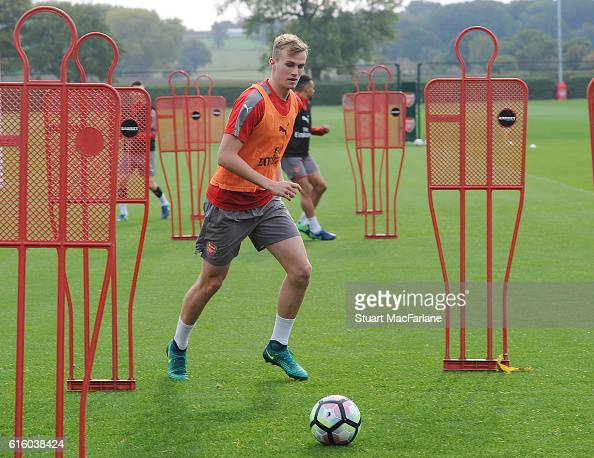Rob Holding of Arsenal during a training session at London Colney on October 21 2016 in St Albans England