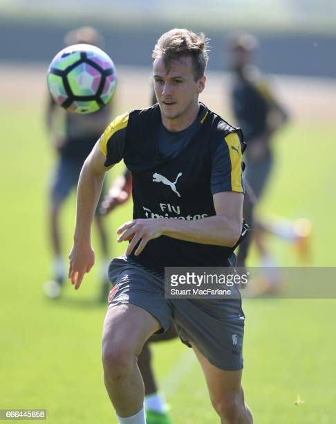 Rob Holding of Arsenal during a training session at London Colney on April 9 2017 in St Albans England