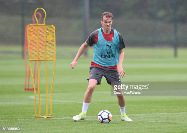 Rob Holding of Arsenal during a training session at London Colney on July 26 2017 in St Albans England