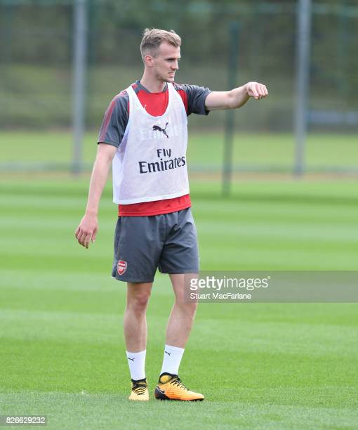 Rob Holding of Arsenal during a training session at London Colney on August 5 2017 in St Albans England