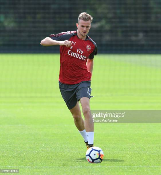 Rob Holding of Arsenal during a training session at London Colney on August 10 2017 in St Albans England