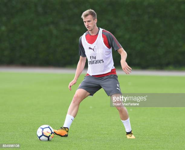 Rob Holding of Arsenal during a training session at London Colney on August 18 2017 in St Albans England