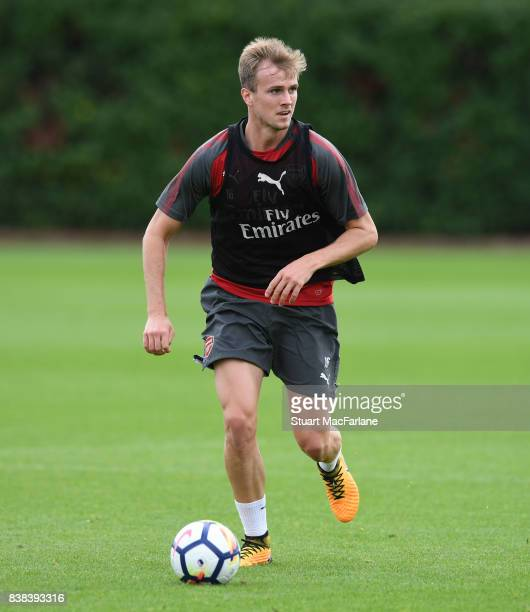 Rob Holding of Arsenal during a training session at London Colney on August 24 2017 in St Albans England
