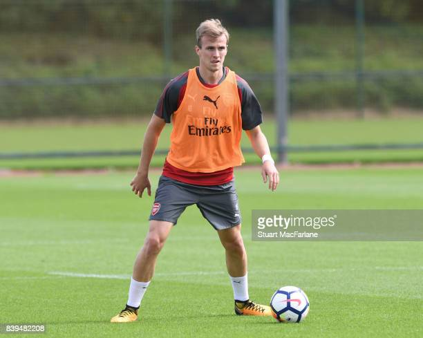 Rob Holding of Arsenal during a training session at London Colney on August 26 2017 in St Albans England